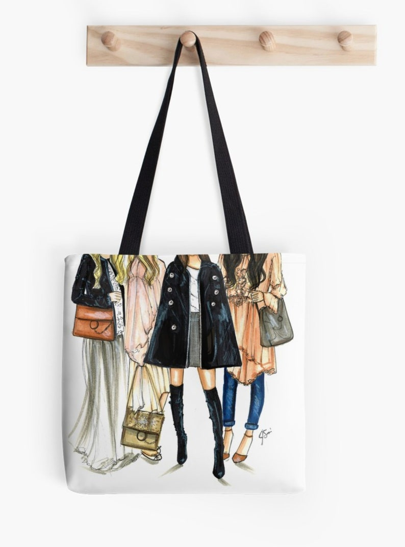 Friend-ly Fashion TOTE Fashion Illustration art  Home Decor Gift Ideas  Gifts for Her Wedding Gifts Graduation Gifts Birthday Gifts