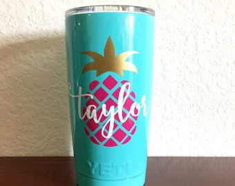 Personalized Pineapple Decal for Yeti 20oz, Yeti Pineapple Vinyl Decal, Yeti Tumbler Decal, Yeti Cup Sticker, 20oz Yeti Rambler Decal