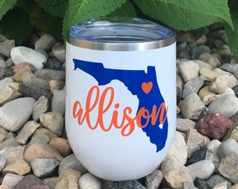 online retailer e23f0 716d3 Florida Gators Stainless Wine Cup University of Florida Football Gameday  Tailgate Go Gators Gift for UF College Student Gift for Her