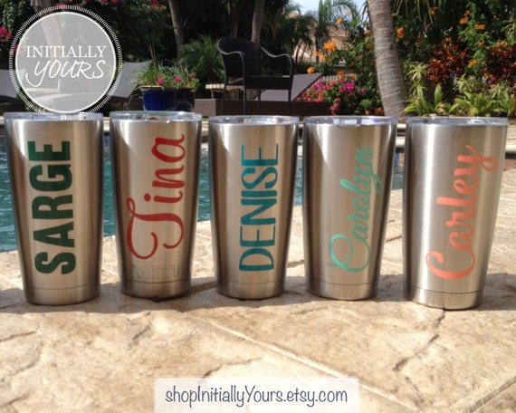 Personalized decal for yeti custom name vinyl stickers for yeti tumbler 20oz yeti rambler decal yeti cup decal decal only from shopinitiallyyours on