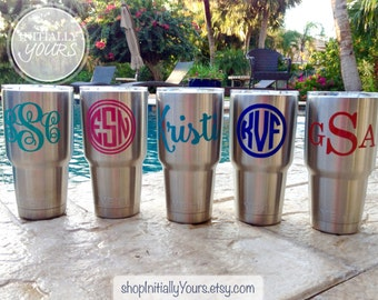 Monogram Decal for Yeti, Personalized Name Vinyl Stickers for Yeti Tumbler, Yeti Cup Decal, 30oz Yeti Rambler Decal, DECAL ONLY