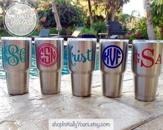 Monogram decal for yeti personalized name vinyl stickers for yeti tumbler yeti cup decal 30oz yeti rambler decal decal only from shopinitiallyyours on