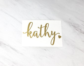 Personalized Name Vinyl Decal with Heart, DIY Wedding, Vinyl Stickers, Champagne Glass Decal, Wedding Party Decals, DECAL ONLY