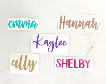 Personalized Shimmer Vinyl Decal Name Custom Name Glitter Vinyl Sticker Customized Decal Lettering Decals for Cups Rose Gold DECAL ONLY