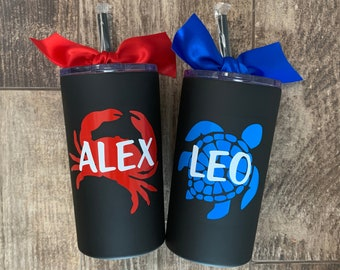 Personalized Cup for Boys Gift for Little Boy Birthday Present Stainless 12oz Tumbler Ring Bearer Nautical Crab Customized Boy Water Bottle