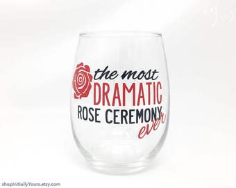Bachelor Wine Night Stemless Wine Glass, The Most Dramatic Rose Ceremony Ever, The Bachelor, The Bachelorette