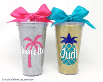Custom Tumblers, Personalized Tumbler Cups, Customized Cups, Gifts for Her, Gifts for Trip, Girls Trip Tumblers, Glitter Cups, Palm Tree