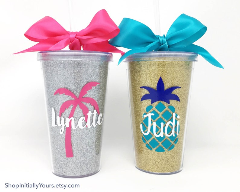Custom Tumblers Personalized Tumbler Cups Customized Cups Gifts For Her Gifts For Trip Girls Trip Tumblers Glitter Cups Palm Tree