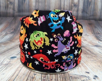 Women's Pixie Style Scrub Hat (Monster Party)