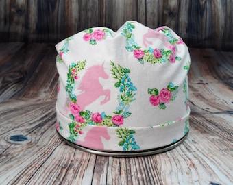 Women's Pixie Style Scrub Hat (Unicorn In Flower Wreaths)