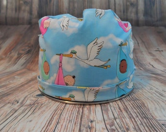 Women's Pixie Style Scrub Hat (Special Delivery Storks)