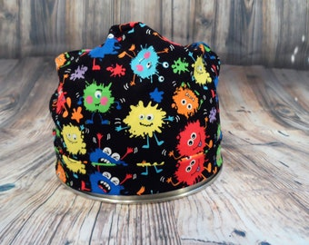 Women's Pixie Style Scrub Hat (Funny Blob Monsters)