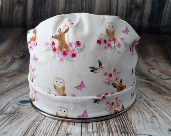 Women's Pixie Style Scrub Hat (Flowers and Woodland Creatures)