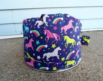 Women's Pixie Style Scrub Hat (Colorful Unicorns)