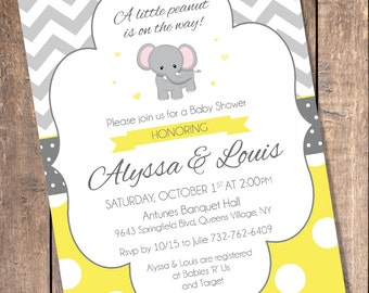 Yellow and Gray Elephant Baby Shower Invitations (Custom Digital File)