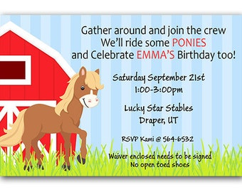Pony ride invitation etsy horse birthday party invitations pony birthday invitations horse riding birthday ponies barn party digital file or printed invitations filmwisefo