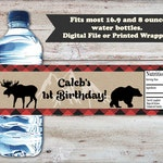 Lumberjack Water Bottle Labels, Lumberjack Water Bottle Wrapper, Lumber Jack Baby Shower, Birthday Water Bottle Label, Digital or Printed
