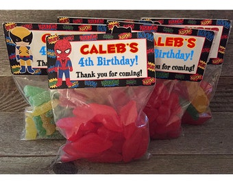 Personalised SPIDERMAN Inspired Birthday Stickers Party Bag Cone Thank You 357