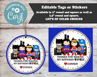Editable Superhero Party Stickers, Super Hero Party Favors, Superhero Party, Super Hero Stickers, Superhero Stickers, Birthday Party Favors