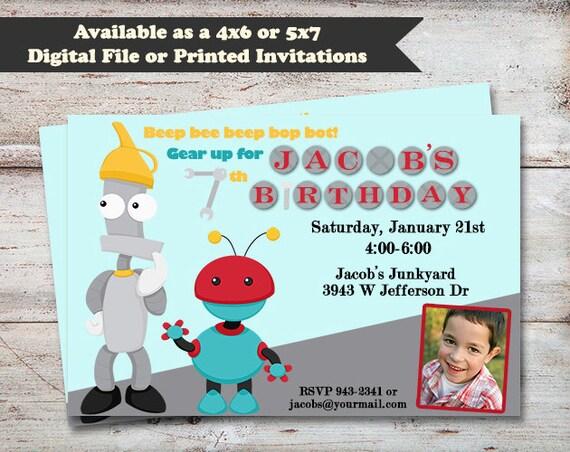 robots birthday party invitations robot party boys birthday etsy