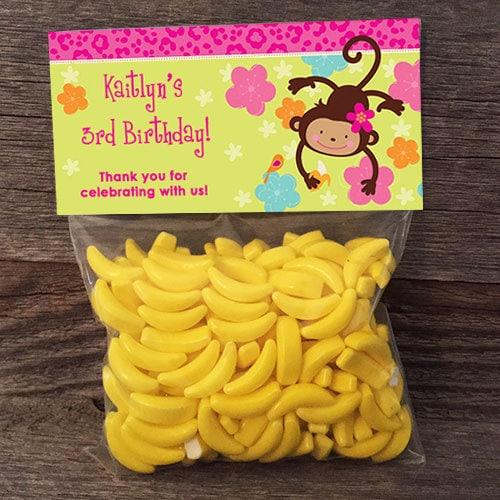 20 30 40 50 Hot Pink Girl Monkey Birthday Small Treat Bags
