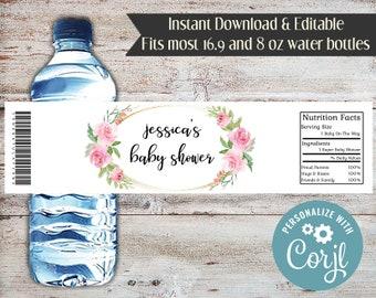 Editable Roses Water Bottle Wrapper, Bridal Shower, Baby Shower, Roses, Rose, Water Bottle Labels, Rose Party Favors, Digital File, DIY