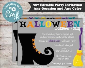 Editable Witches Boot Halloween Invitations, Halloween Party Invitations, Witch, Halloween Birthday Invitation Digital File, DIY