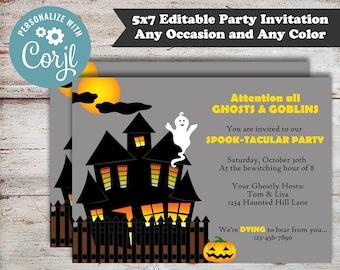 Editable Haunted House Halloween Party, Haunted House Party, Halloween Party, Costume Party, Halloween Invitation, Digital File, DIY