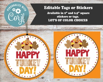 Editable Thanksgiving Stickers, Turkey Day Stickers, Thanksgiving Favors, Thanksgiving Party Favors, Holiday Stickers, Personalized Stickers