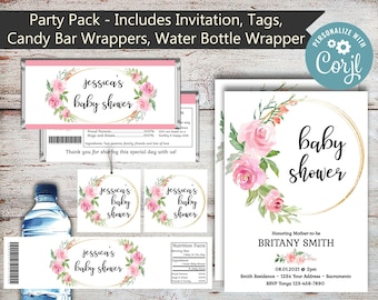 Editable Roses Party Package, Roses Water Wrappers, Roses Candy Wrappers, Rose Favor, Baby Shower, Bridal Shower, Rose, Roses, Digital Files