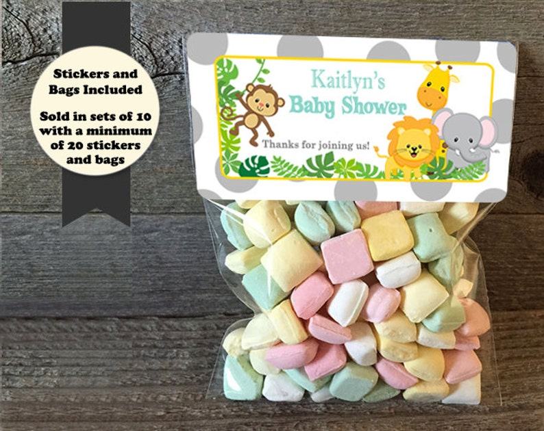 Safari Baby Shower Treat Bags Safari Baby Shower Stickers & image 0