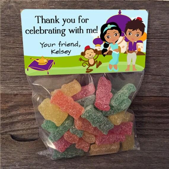 Aladdin Princess Jasmine Birthday Treat Bags Stickers And