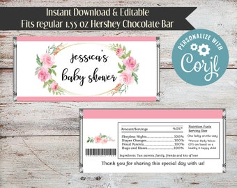 Editable Roses Candy Wrapper, Baby Shower Candy Wrapper, Bridal Shower Candy Wrapper, Shower Candy Bar Wrapper, Rose, Roses, Digital File