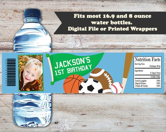 PERSONALISED FOOTBALL SELF ADHESIVE WATER BOTTLE LABEL WRAPPER BIRTHDAY PARTY