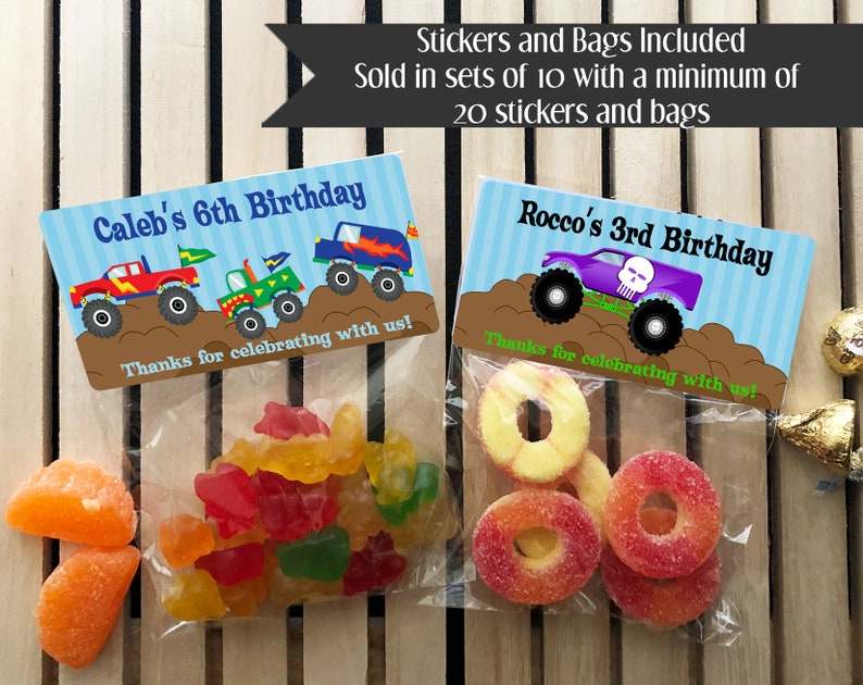 Monster Truck Personalized Favors Monster Truck Stickers image 0