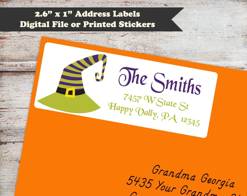 Witches Hat Halloween Address Labels Witch Halloween image 0