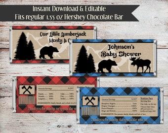 Editable Lumberjack Candy Bar Wrappers, Lumberjack, Baby Shower, Birthday, Lumberjack Party, Lumber Jack Party Favors, Lumberjack Party