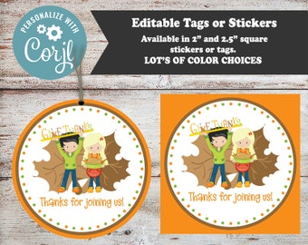 Editable Give Thanks, Thanksgiving Stickers, Turkey Stickers, Thanksgiving Favors, Thanksgiving Party Favors, Holiday Stickers, Turkeys