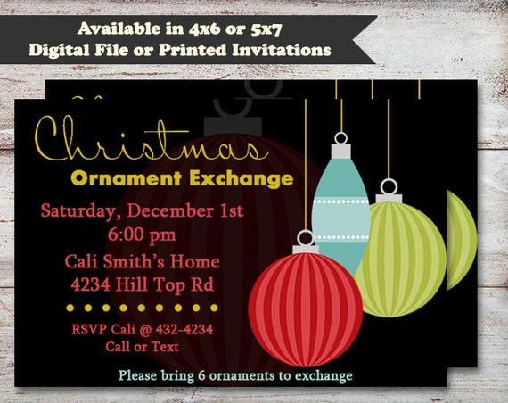 ornament exchange party invitation ornament party invitation