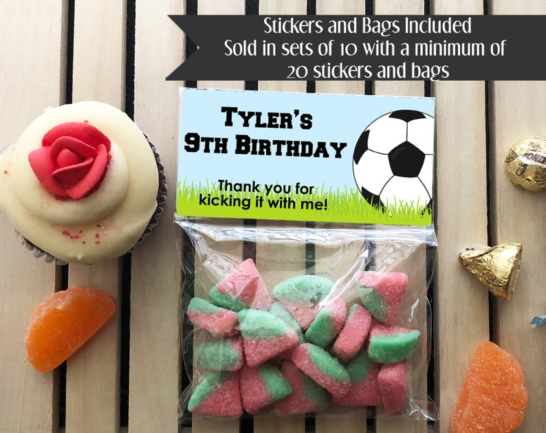 Soccer Birthday Treat Bags Soccer Stickers and Bags Sports image 0