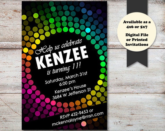 disco ball birthday party invitations colorful birthday invitations