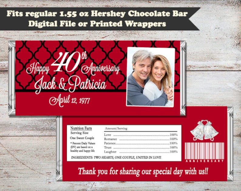 50th Wedding Anniversary Candy Bar Wrapper Anniversary Candy image 0