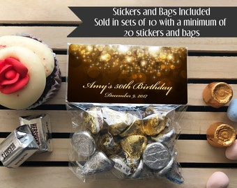 Gold Favor Bags, Adult Favor Bags, Gold and Black Favor Bags, Birthday Favor Bags, Milestone Birthday, Party Favor Bags, Gold Birthday