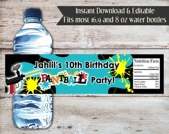 Editable Paintball Water Bottle Labels, Paintball,  Water Bottle Wrappers, Party Favors, Water Bottle, Paintball Party, Instant Download