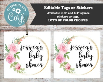 Editable Roses Party Favors, Rose Party, Baby Shower Stickers, Baby Shower Tags, Bridal Shower Favors, Shower Favors, Baby Shower, Digital