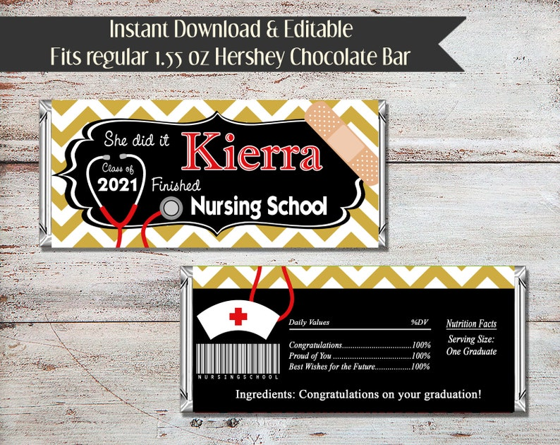Editable Nursing Graduation Candy Wrapper DIY Graduation Digital File Editable Nursing Candy Bar Wrapper DIY Nursing Graduation