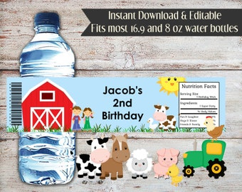 Editable Farm Water Bottle Labels, Farm Water Bottle Wrappers, Farm Party Favors, Baby Shower, Animals Birthday, Farm Water Labels, Digital