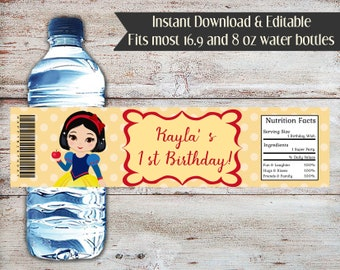 Editable Snow White Water Bottle Wrapper, Princess Water Wrapper, Snow White, Water Wrapper, Snow White Party Favors, Birthday, Baby Shower