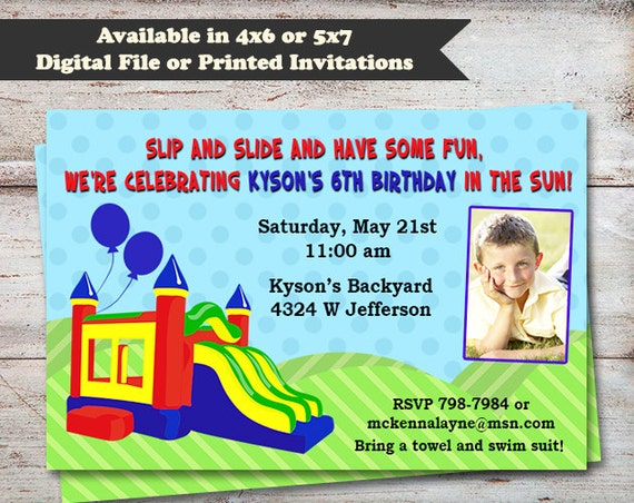 Bounce House Birthday Invitations Water Slide Party