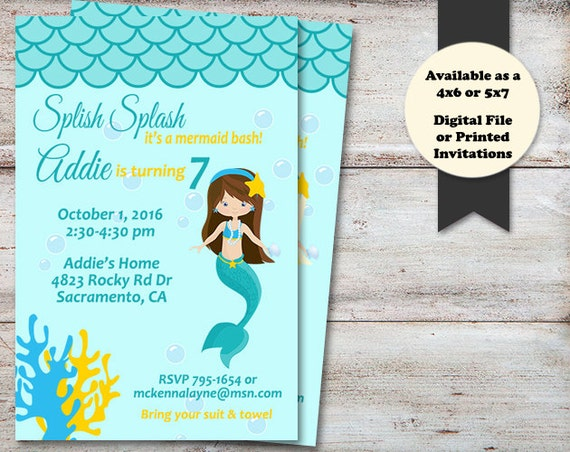 mermaid birthday party invitations mermaid birthday invitations